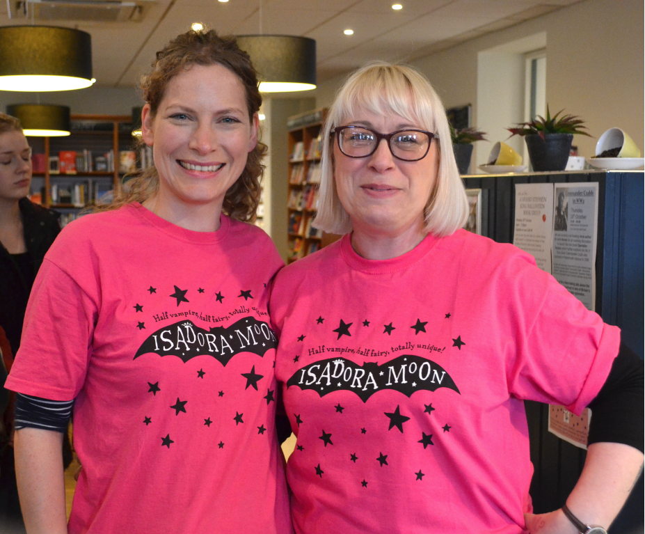 Staff at Waterstones Pompey (Portsmouth) in Isadora Moon t-shirts