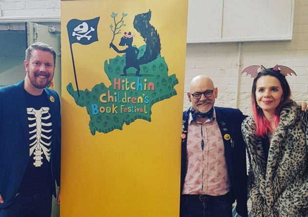 Danny Pearson James Mayhew and Harriet Muncaster at the Hitchin Childrens Book Festival
