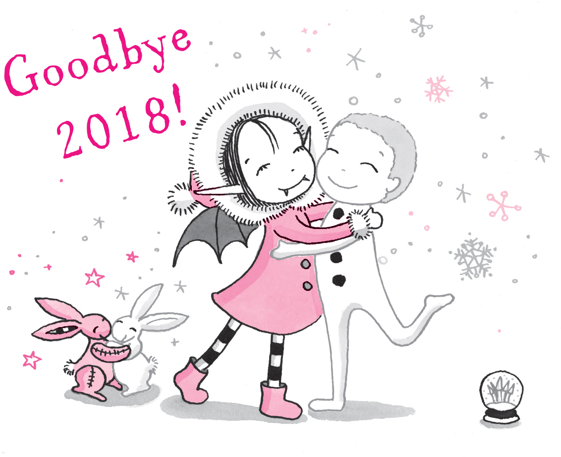 Goodbye 2018 Isadora Moon hugging Snow Boy